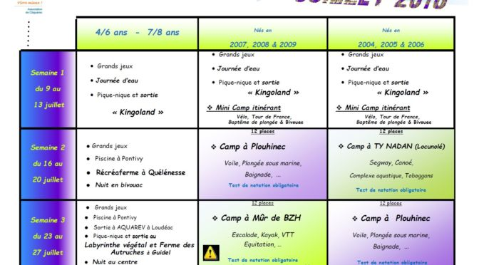JEUDI 24 MAI : FAMILLES RURALES : INSCRIPTIONS ALSH & CAMPS D'ÉTÉ.