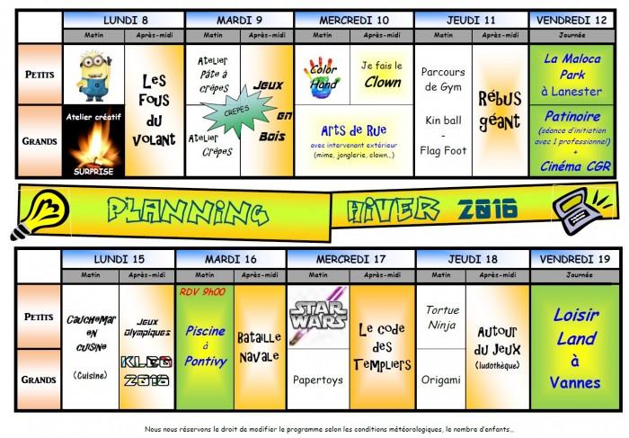 ALSH Planning Hiver 2016