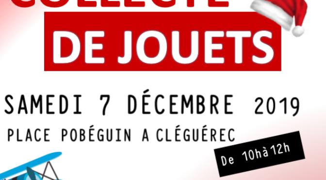 SAM. 7 DEC |10h-12h COLLECTE DE JOUETS |PLACE POBÉGUIN |CLEGUEREC