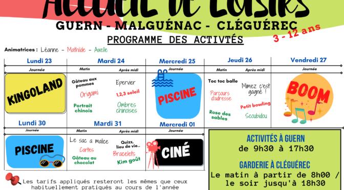 ALSH | DU 23 AOÛT AU 01 SEPT. | CLÉGUÉREC